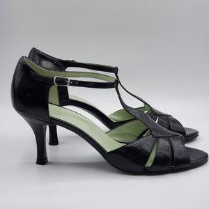 Naturalizer, Black leather T-strap, heels, Size 9